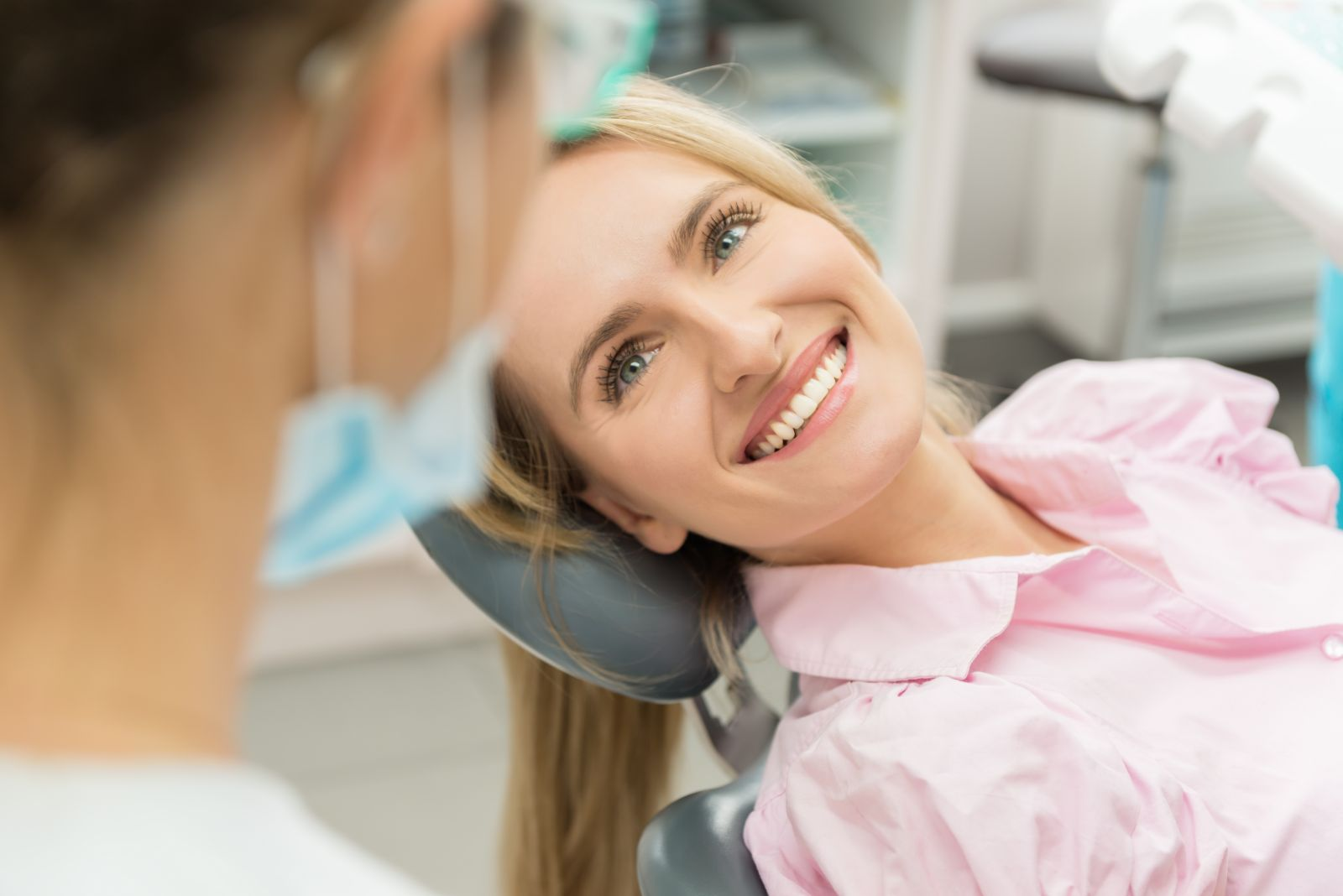 A patient sitting in a dental chair at our Westchester Dental Practice